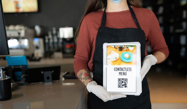 Barista With Contactless Menu QR Code.