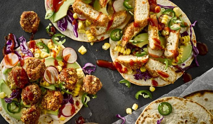 Vegan fried chicken tacos.