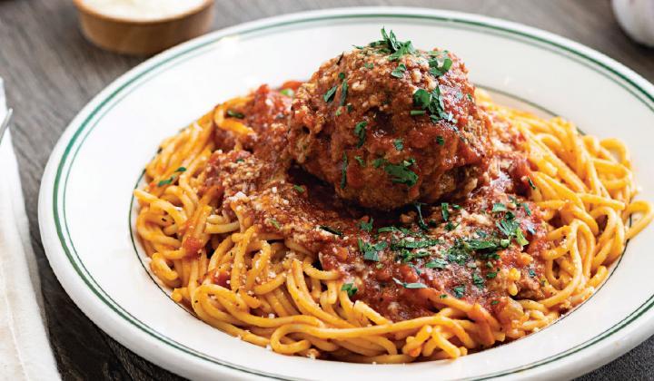 Mary's Pizza Shack's Spaghetti with a Giant Meatball.