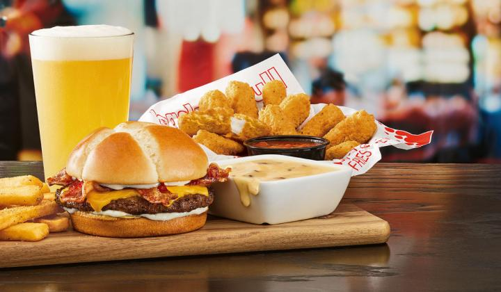 Red Robin cheese lovers menu on table.