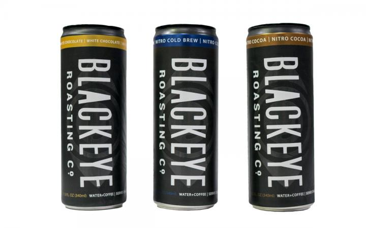 Three cans of Blackeye Roasting Co.'s line of Nitro Cold Brew, which come in new White Chocolate and Nitro Cocoa flavors.
