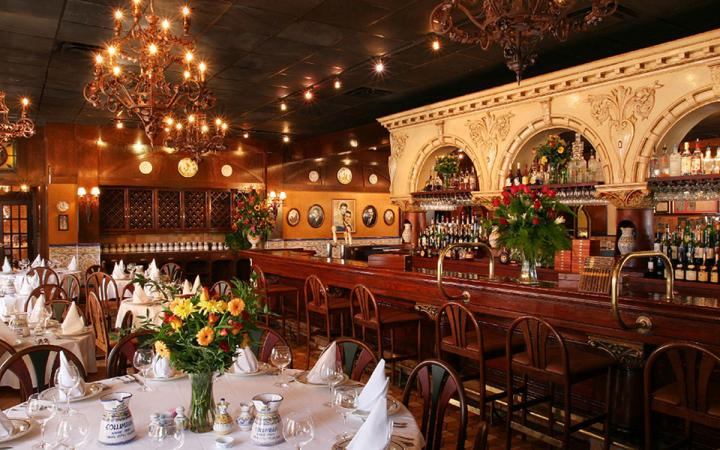 Columbia Restaurant's famed dining room, decked out as usual for guests.