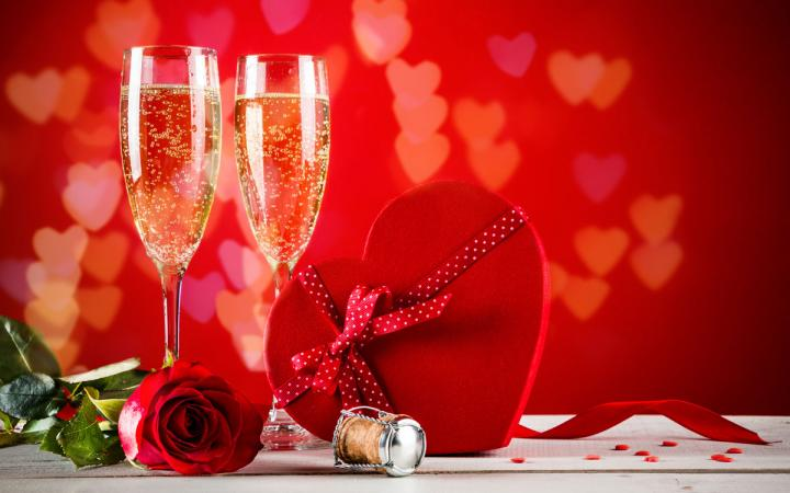 Valentines Day background with Champagne.