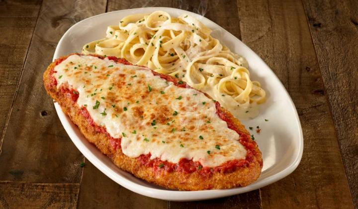 An 11.5-inch long Giant Chicken Parmigiana is part of Olive Garden's new Giant Italian Classics menu.