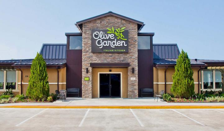 Exterior of an Olive Garden restaurant.