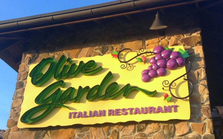 Olive Garden's famed sign showcases its brand to the public. The Italian chain is a top performer in casual dining.