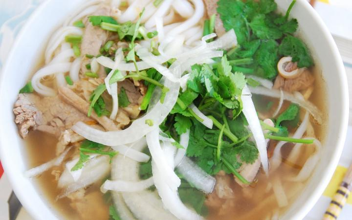 A homemade cup of pho soup.