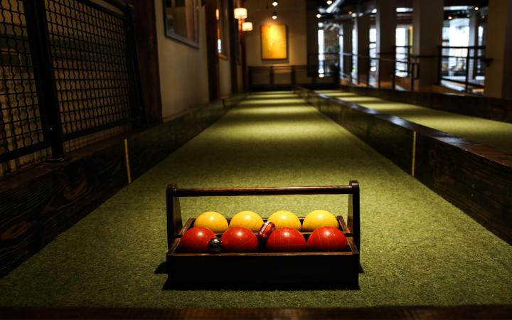 A bocce court at Pinstripes, an elevated, entertainment-driven restaurant concept.
