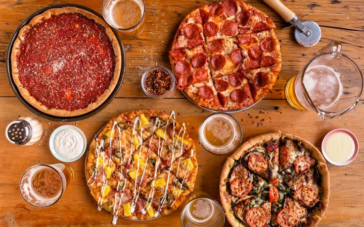 Beer and pizza paired together at Uno Pizzeria & Grill.