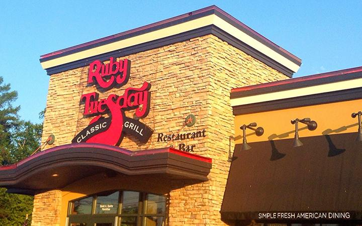 A Ruby Tuesday is shown in the distance. The casual dining chain just named a new CEO.