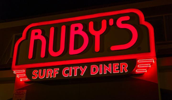 Ruby's Surf City Diner sign.
