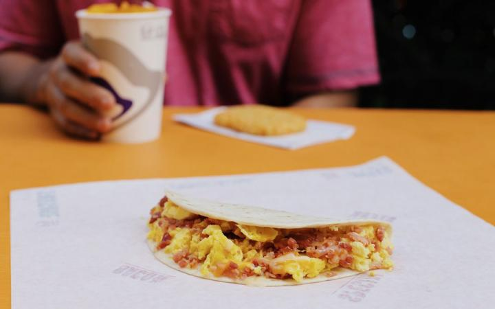 Taco Bell's breakfast soft taco with bacon.