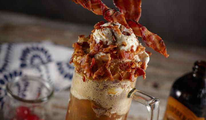 Ice cream float made with bacon
