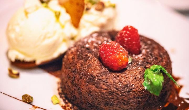 Chocolate cake dessert at Fleming's restaurant.