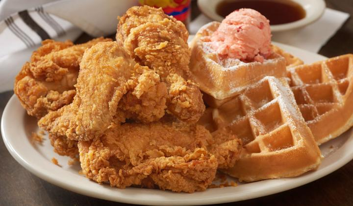 Fried Chicken & Waffles at Metro Diner restaurant.