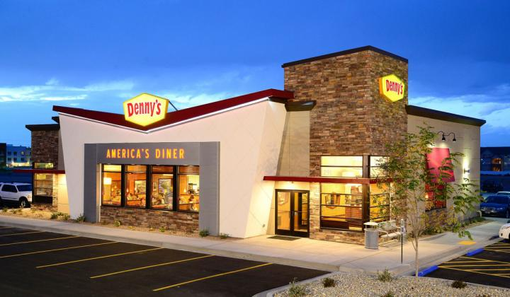 The exterior of Denny's newly remodeled restaurant design.