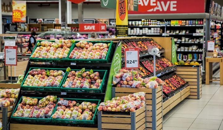 Supermarket produce aisle.
