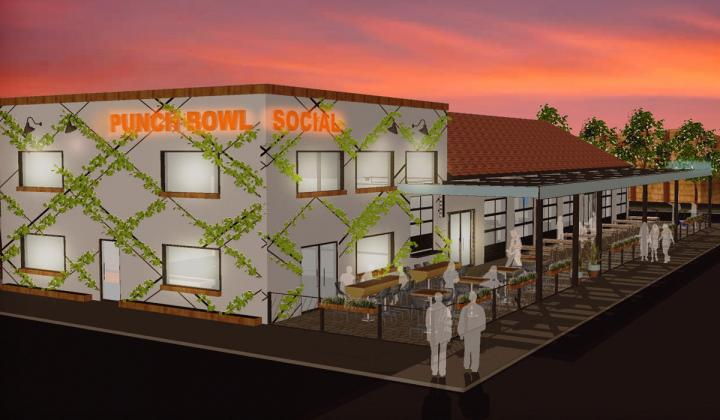 Punch Bowl Social's rendering of a new smaller location in Fort Worth.