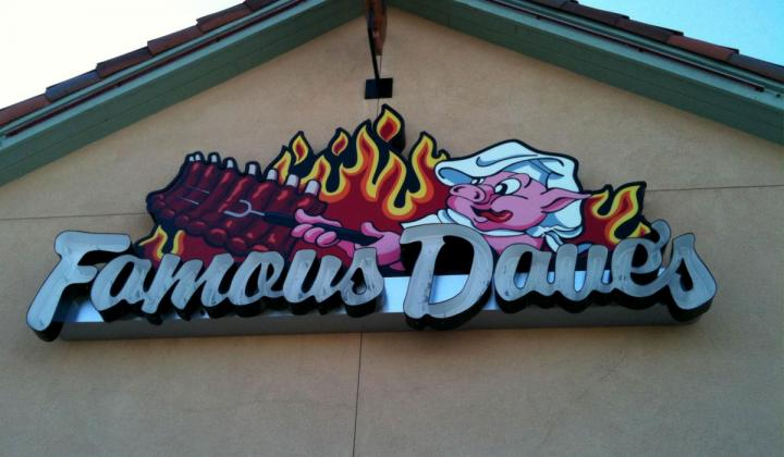 Famous Dave's barbecue sign in Gilroy.