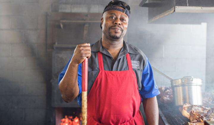 Chef Rodney Scott at his James Beard-winning restaurant.