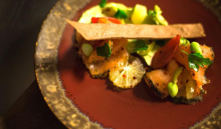 Arbor Salmon dish—Zahtar cured salmon, Buckwheat crisp, smoked lemon avocado puree.