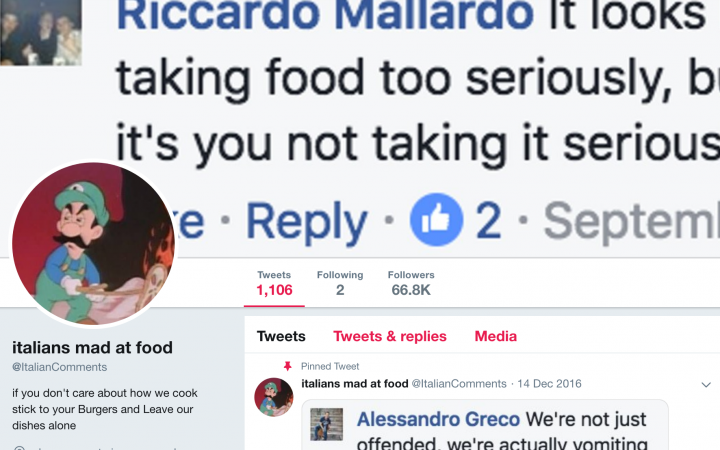 Screenshot of the Italians Mad At Food Twitter page