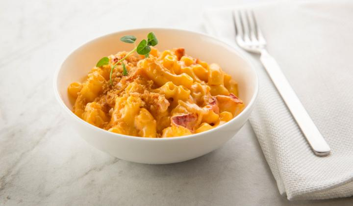 A bowl of Lobster Mac & Cheese.