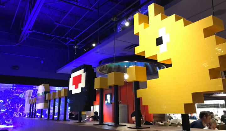 The PacMan Lego installation at The Cowfish in Birmingham.