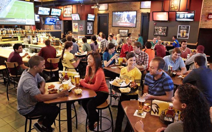 Inside a busy night at Buffalo Wild Wings.
