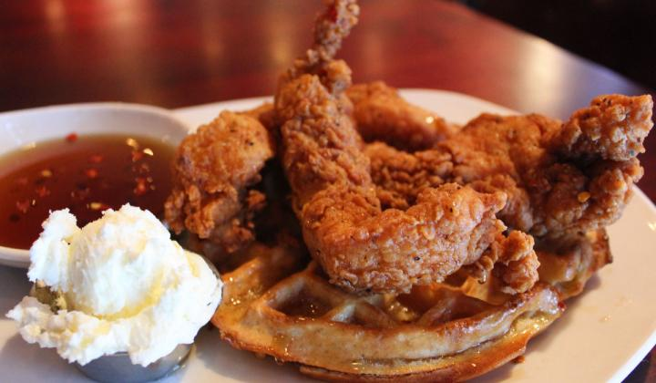 Chicken and waffles at Kenny's Restaurant Group in Dallas, Texas.