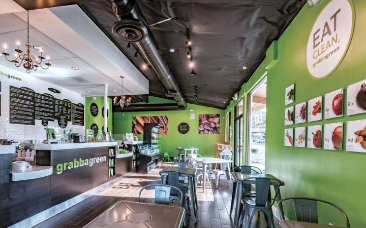 The inside of Grabbagreen fast casual.