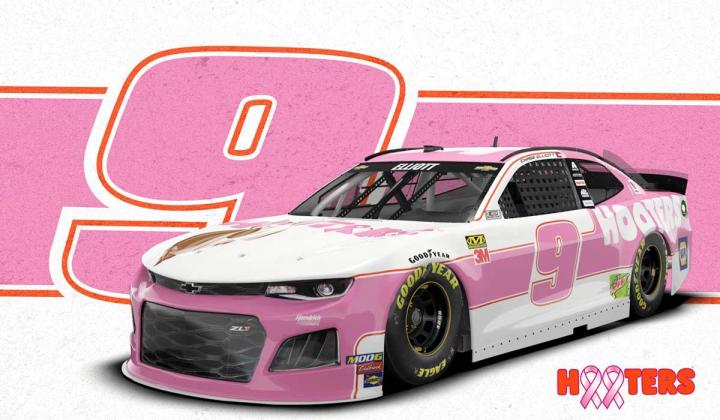 Chase Elliott's No. 9 Hooters Chevrolet Camaro ZL1 Painted Pink for Upcoming Race