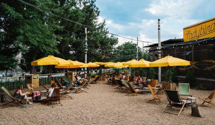 Ladybird's patio decorated with yellow umbrellas and lounge chairs