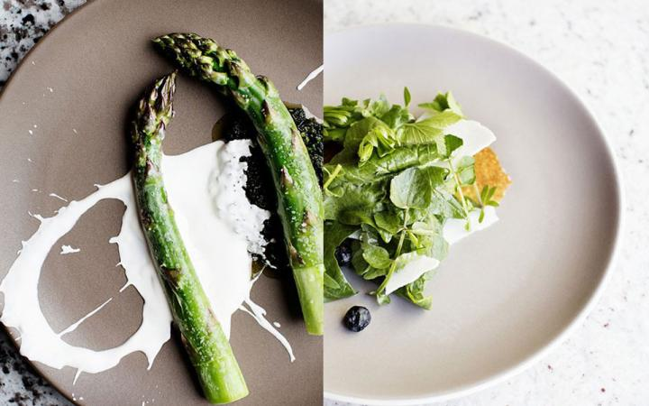 Two standout dishes, one asparagus, one salad at Heyday.