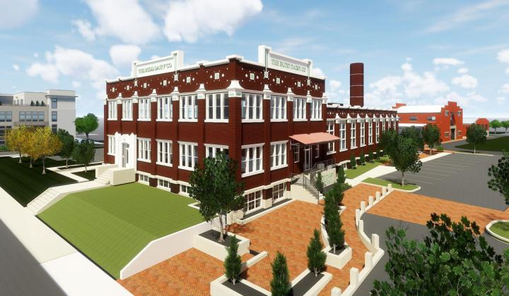 A rendering of Cameron Mitchell's upcoming food hall in the Budd Dairy building in Columbus, Ohio.