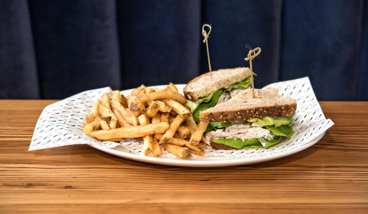 Chicken salad sandwich and fries.