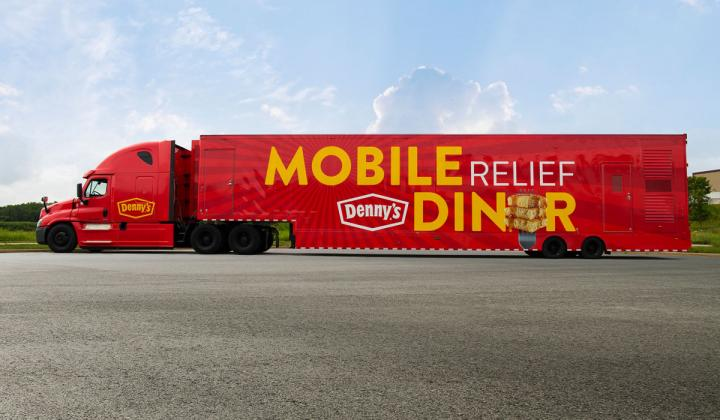 Denny's Mobile Relief Diner, a 53-foot traveling kitchen.