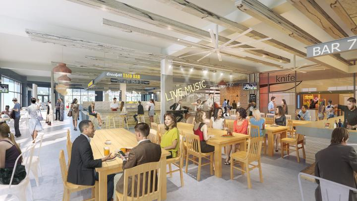 A rendering of guests eating at FOODHALL at Crockett Row in Fort Worth, Texas, which will be the city's first food hall.