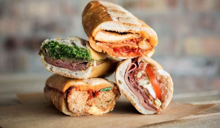 Group of sandwiches at Pirolo's Panino.