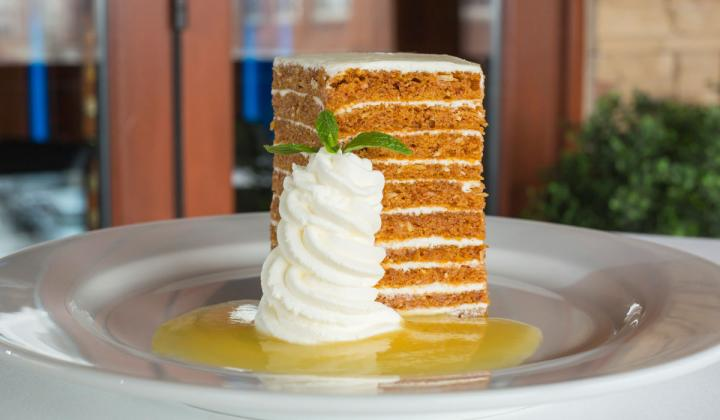 Ocean Prime's carrot cake features 10 layers covered in smooth, cream cheese icing.