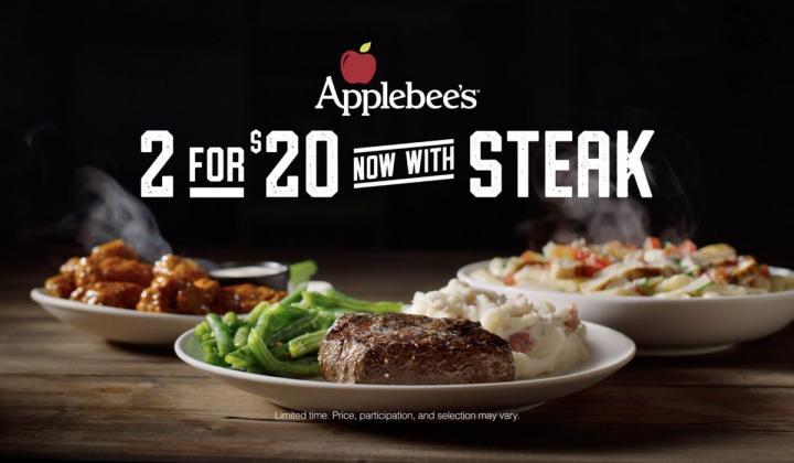 Applebee's steak returns to its 2 for $20 menu.