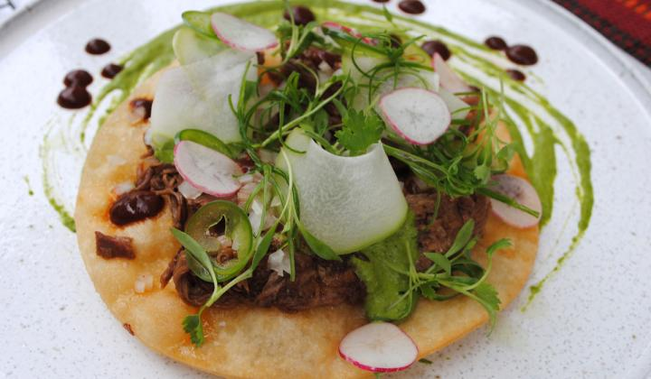 Oaxacan Lamb Barbacoa, Mezcal Salsa Borracha, Navajo Fry Bread and Watercress.