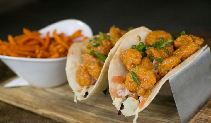 Walk-On's famous Boom Boom Shrimp in taco form.