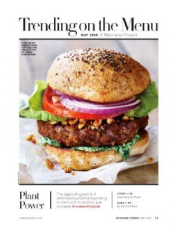 Cover image, showing a juicy burger made of alternative proteins
